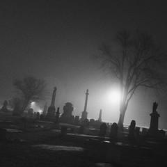 Crooks Rd Cemetery (Super Fuzz) Tags: troy michigan cemetery crooksroadcemetery graveyard headstones fog night