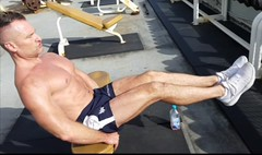 abs (ddman_70) Tags: shirtless muscle workout outdoor gym pecs abs shortshorts