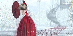 """""""Follow your heart and success will be your unimpressive shadow."""" ― Sir Kristian Goldmund Aumann (๓คเค๓ςкєєภคภ) Tags: maiamckeenan locualamadruga ghee red asian road petals white snow gown"""