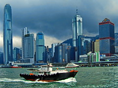 A cloudy day in Hong Kong (gerard eder) Tags: world travel reise viajes asia eastasia hongkong city ciudades cityscape cityview städte stadtlandschaft wasser water skyline skycraper boote boats barcas landscape landschaft paisajes panorama outdoor architecture architektur arquitectura modernarchitecture clouds wolken nubes sea seascape central