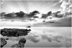 Ho incontrato un'ombra (Gio_ guarda_le_stelle) Tags: bw tv panorama gray sunset italy seascape sea seaside light sunbeams clouds