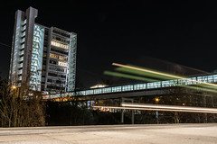 [Storkower Übergang] (MaSiCiu) Tags: ifttt 500px sky night light house lighthouse train lights traffic building berlin skyscraper long exposure nightscape transportation system
