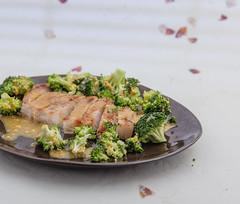 Served grilled pork and marinated broccoli. (annick vanderschelden) Tags: pork meat grilled sliced broccoli chops oliveoil warm readytoeat served plate pottery marinade honey ginger redwinevinegar mustard
