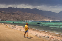 Jogging at the rain's edge (andrius_) Tags: thundercloud redsea mountain