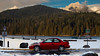 Subie on the Lake (haleybruce) Tags: subaru impreza l vancouver burnaby burrard inlet red stickerbomb winter wintermode awd forest lake sky car nature park rule breaker water brap rumble
