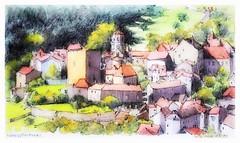 Semur en Brionnnais - Bourgogne - France (guymoll) Tags: semurenbrionnais semur bourgogne france croquis sketch aquarelle watercolour watercolor église roman égliseromane village town