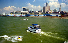 Fun on Lake Erie (Thom Sheridan) Tags: thomsheridan cleveland skyline downtown city greatlakes old vintage film 1999