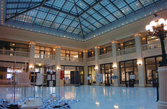 Chicago  Illinois - The Railway Exchange Building AKA  Santa Fe Building - South Michigan Ave (Onasill ~ Bill Badzo) Tags: santa fe building chicago il illinois cook county architecture school architect d h burnham f p dinkelberg co logo onasill ipad nrhp register place historic michigan district lines railwaybuilding interior atrium vintage old photo landmark skylight light fixtures santafe scaffold well recognizable by large motorola roof which is visible from grant park