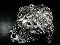 unchain my heart (muffett68 ☺ heidi ☺) Tags: ansh scavenger18 illustrateasongtitle unchainmyheart macromondays monochrome possibility silver heart