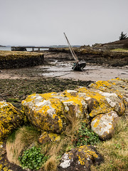High and Dry (vxisme.) Tags: portencross coila sailboat ayrshire riverclyde tide lichen harbour