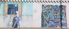 Up to The Moon (Alex L'aventurier,) Tags: tanger tanguer maroc morocco art public candid woman femme walking marcher movement street rue urban urbain city ville graffiti murale wall mur trottoir lune moon échelle ladder