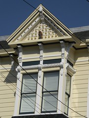 San Francisco, CA, Noe Valley, Victorian House, Bow Window and Gable Detail (Mary Warren 13.5+ Million Views) Tags: sanfranciscoca noevalley victorian architecture house residence building yellow window bowwindow owl