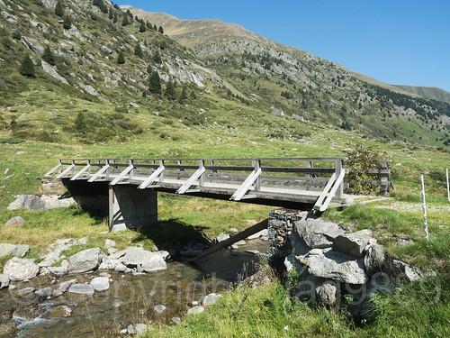 RHE097 La Giepa Wooden Bridge over the Medelser Rhein (Froda) River, Platta / Medel, Grisons, Switzerland