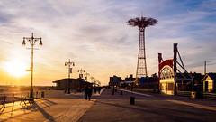 Boardwalk (deepaqua) Tags: brooklyn shadow goldenhour parachutejump offseason sunset coneyisland cloud streetlamp beach lunapark amusementpark