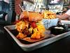 mac n cheese burger (n.a.) Tags: guy fieri guys fieris burger beef cheese pasta bun fries potatoes tray metal wood bar