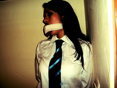 (vujo1017) Tags: gag gagged woman women shirt tie white tied buond bondage submissive formal clothed