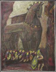 5th Grade: Ancient History and Mythology; Greece: Trojan Horse (ArneKaiser) Tags: 5thgrade 5thgradefarewell ancienthistoryandmythology boarddrawings edited greece mrkaisersclass pineforestschool waldorf chalk chalkboard chalkdrawings