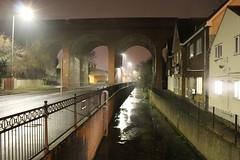 Cray Valley,18 (doojohn701) Tags: stream river viaduct railings fence railway streetlighting reflection dusk raining crayvalley uk