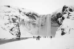 Frozen Skógafoss (Sophie Carr Photography) Tags: skogafoss iceland blackwhite bw icelandophile waterfall frozen winter frozenwaterfall february