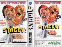 """Seoul Korea vintage Korean VHS tape cover for 1973 private eye flick """"Stacey"""" - """"She's Fast"""" (moreska) Tags: seoul korea vintage korean vhs tape privatedetective stacey oldschool retro 1970s seductive adventure bmovies jane bond nostalgia videocassette rentalera t90 eighties analogue pop culture archive museum rok asia"""
