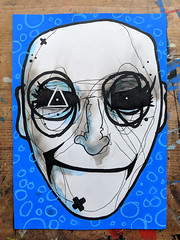Until he went blue in the face (id-iom) Tags: idiom face head eyes mouth blue man graffiti vandalism street urban art