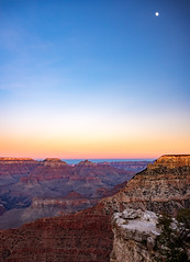 places of praise (almostsummersky) Tags: horizon rockformation wotansthrone peaks winter overlook canyon nationalpark moon evening viewpoint rocks southrim outcropping matherpoint grandcanyon vishnutemple travel northrim oneillbutte grandcanyonnationalpark sky arizona clouds sunset cliffs dusk