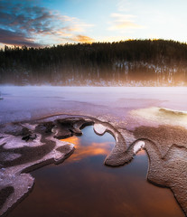First shot! (strupert) Tags: norway river lake misty morning cold ice snowy winter fosen