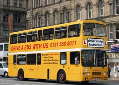 TB321 E321 MSG (Cumberland Patriot) Tags: lothian buses edinburgh princes street midlothian scotland scottish leyland olympian alexander rh h5130d 321 tb321 e321msg step entrance double deck decker bus yellow trainer training learner driver derv diesel engine road vehicle oncl102rz on10739