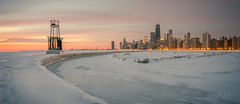 Winter Sunrise Over Chicago (ADFitz1967) Tags: lighthouse usa navypier sunrise winter americanmidwest chicago johnhancocktower illinois cityscape downtown snow lakemichigan cold leadinlines