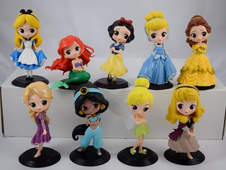 Complete set of Q Posket Disney Characters 140mm Vinyl Figures by Banpresto - As of 1/8/2018