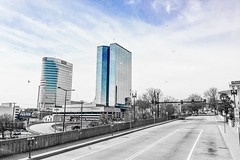 """""""On no subject are our ideas more warped and pitiable than on death."""" ―John Muir 🏢 (anokarina) Tags: appleiphone6 knoxville tennessee tn downtownknoxville adobephotoshopexpress colorsplash urban street aquamarine blue clouds"""