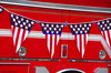 Red, White, and Blue (walkerross42) Tags: flag pennants red white blue firetruck oldglory patriotic prairiecity oregon