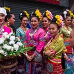 Thai People in Traditional Dress Waiting to Join the Chiang Mai Flower Festival Parade 158 thumbnail