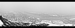 La Roche-Guyon DxOFP KT-max3200 XT2 Pano 1036-1037 (mich53 - thank you for your comments and 4M view) Tags: monochrome noirblanc blackwhite xt2 neige valdoise france frankreich larocheguyon donjon frost xf1655mmf28rlmwr 2018 hiver 4winter saisons panorama seine river