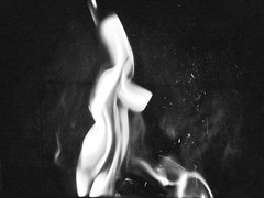 SHE'S POSING - flame series - #flame (Ageeth van Geest) Tags: 7dwf hmm fireplace monochrome blackandwhite bw spirit ghost woman flame macromondays