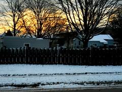 Sunrise in winter! - HFF 365/100 (Maenette1) Tags: sunrise winter snow fence menominee uppermichigan happyfencefriday flicker365 michiganfavorites project365