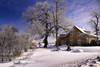 Paysage d'hiver (gaudreaultnormand) Tags: canada froid hiver neige quebec saguenay arbre route bâtiment ciel