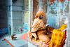 Hey Hanuman ( in color ) (Tavepong Pratoomwong) Tags: tavepong streetphoto monkey india varanasi color funny moment orange blue baba love wtf