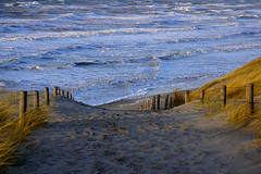 down and up (Wöwwesch) Tags: sea waves water ocean beach dunes way fence sun winter ebb flow moving