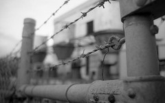 Keep Out (davidmichaelhall) Tags: industrial barbedwire bw