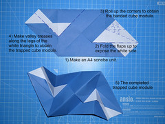 How to make the banded and trapped cube modules (ISO_rigami) Tags: modular origami 3d a4 sonobe unit banded trapped cube polyhedron eckhardhennig