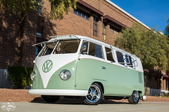 Low Down 63 (Eric Arnold Photography) Tags: vw volkswagen bus kombi transporter van bulli split splitty window safari low lowered empi chrome wheels brick wall trees goodyear az arizona seafoam green white car auto automobile automotive shoot photoshoot 63 1963 canon canon80d 80d