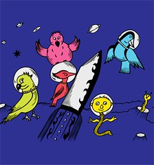 Cute Cartoon Birds in the Space Vector T-shirt Design (stockgraphicdesigns) Tags: aeropause alien angel angelic animals astronaut beak birds caricature cartoon cartoonanimals character childhood childish children cute cuteanimals cutebirds doll feather fictitious fly flying funny galaxy horn jungle kids little missile monster mutant parrot planet projectile rocket science shuttle smartpack14 space spaceship star story technology toy universe winged wings