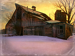 Big Old Barn (Dave Linscheid) Tags: barn farm rural country agriculture decay abandoned snow winter texture textured silo tree sunset cloud watonwancounty mn minnesota usa picmonkey