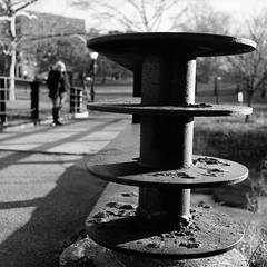 Inwood (colinpoe) Tags: railing mediumformat winter blackandwhite kodakfilm tmax100 tlr 6x6 inwood rolleiflexautomatk4a rolleiflexautomat bw rolleiflex inwoodhillpark 120