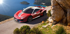 Ferrari 488 Pista (nike_747Original) Tags: naksphotographydsign ferrari 488 pista thelauda speciale supercar hypercar super hyper car sportscar sport class exotic rare luxury color auto limited edition oneofone red scarlet italian tricolore sea rocks mountains island sun flare bush trees supersport twinturbocharged v8 v 8 specialseries scuderia coupe spider convertible