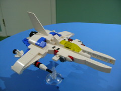 Custom Lego small Vic Viper spaceship (Gradius) 5th prototype (TekBrick) Tags: lego custom vicviper vic viper gradius game space spaceship moc brick white blue 5th prototype video konami nes snes