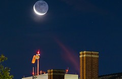 Rising, Cold & Hazy Crescent Luna (Cowboy Dan Paasch) Tags: moon thistle hill fort worth cook childrens hospital