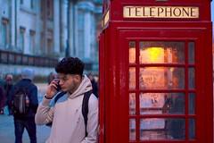 On the telephone (aaronmkts) Tags: portrait irony ironic iconic uk phone streetphotography photography street waterloo london