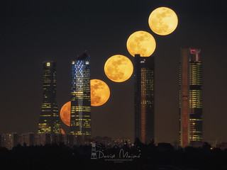 Secuencia de superluna cuatro torres Madrid